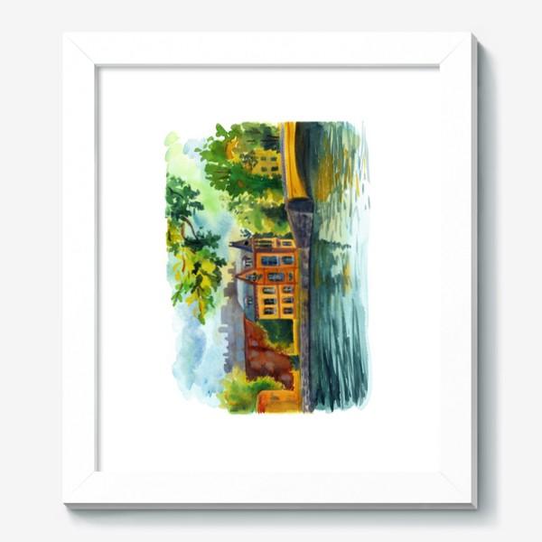 Картина «Красивый домик на берегу реки»