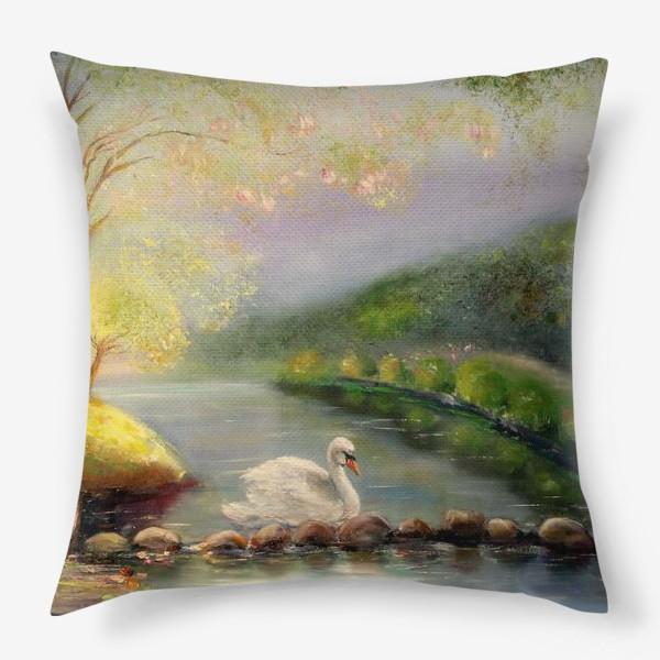 Подушка «Белый лебедь в волшебном лесу»