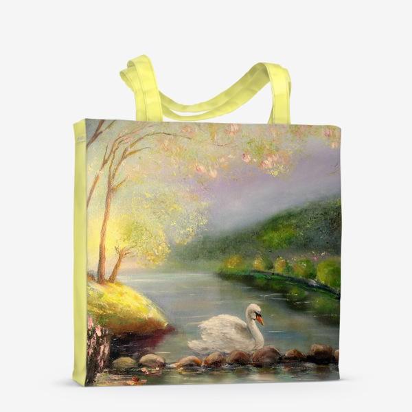 Сумка-шоппер «Белый лебедь в волшебном лесу»