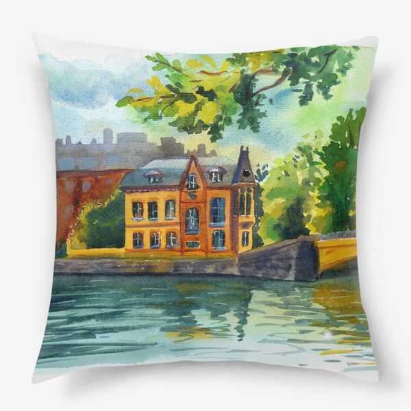 Подушка «Красивый домик на берегу реки»