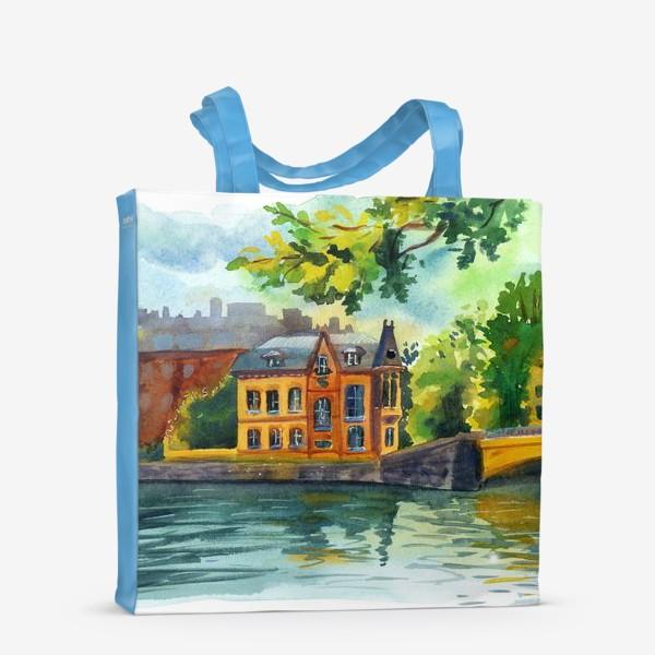 Сумка-шоппер «Красивый домик на берегу реки»