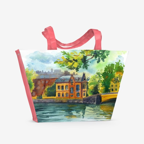 Пляжная сумка «Красивый домик на берегу реки»