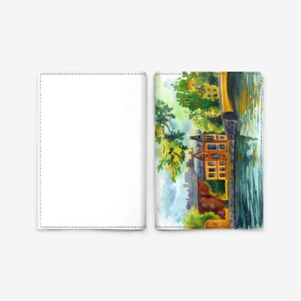 Обложка для паспорта «Красивый домик на берегу реки»
