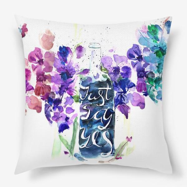 Подушка «Цветы гладиолусы, буквы»