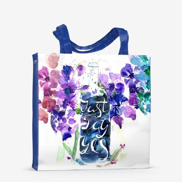 Сумка-шоппер «Цветы гладиолусы, буквы»