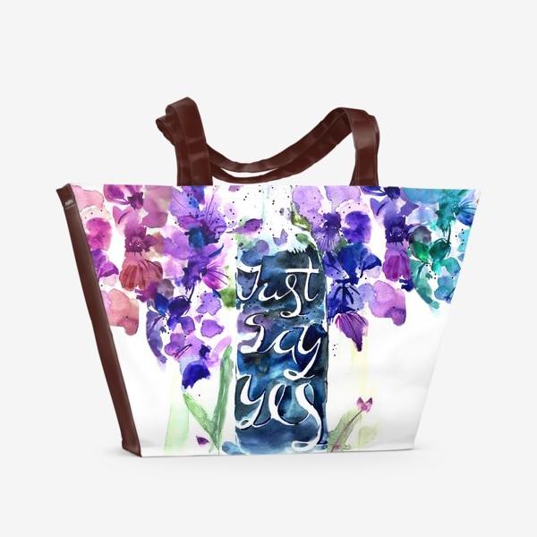 Пляжная сумка «Цветы гладиолусы, буквы»