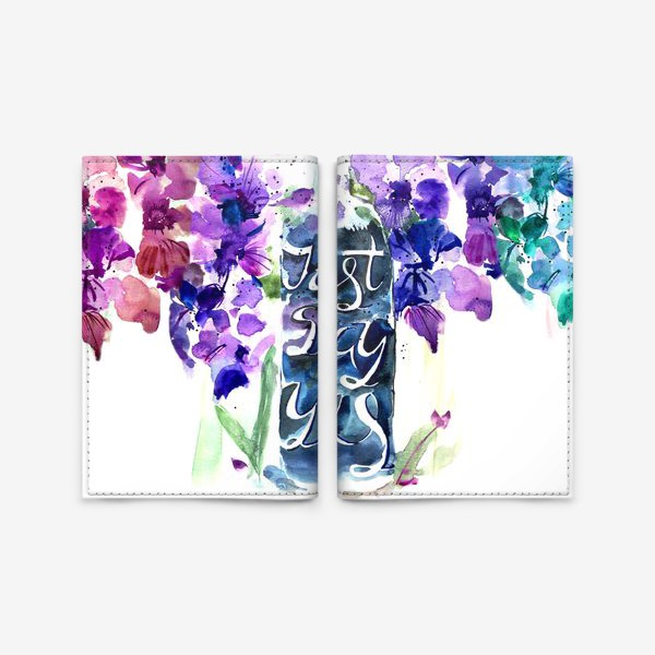 Обложка для паспорта «Цветы гладиолусы, буквы»