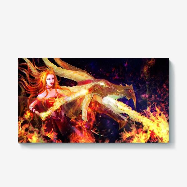 Холст «Лина - огненная девушка»