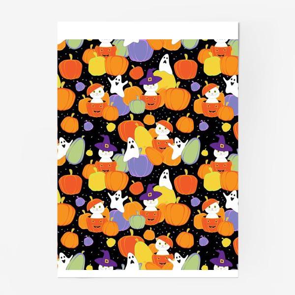 Постер «Хэллоуин,тыквы,коты и привидения»