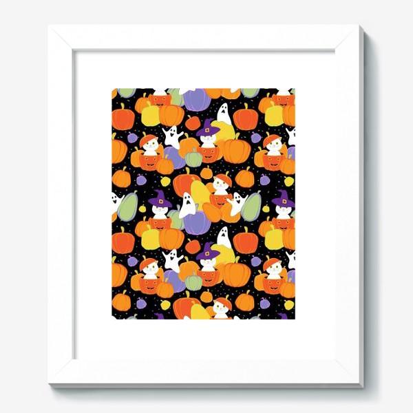 Картина «Хэллоуин,тыквы,коты и привидения»