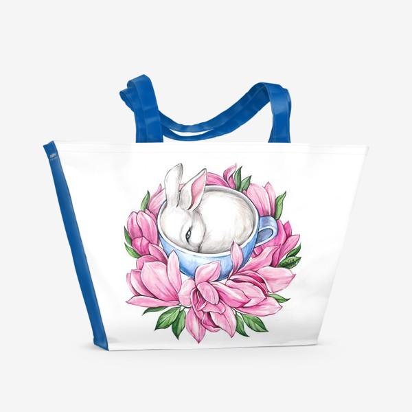 Пляжная сумка «Кролик в чашке»