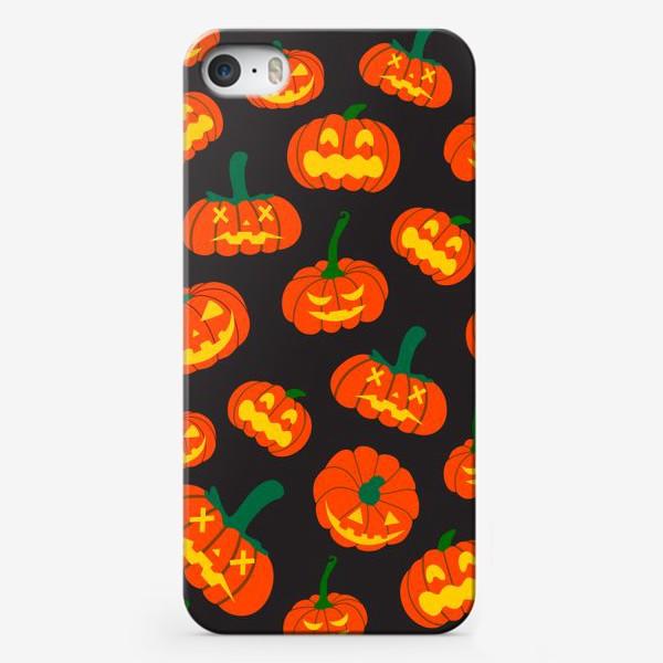 Чехол iPhone «Тыквы. на черном фоне Осень. Хэллоуин. День Благодарения»