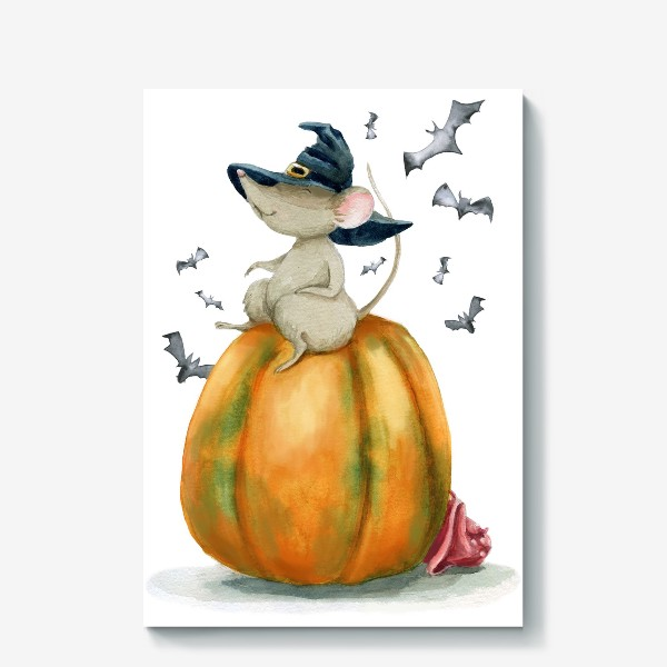 Холст «Мышка-ведьмочка на тыкве»