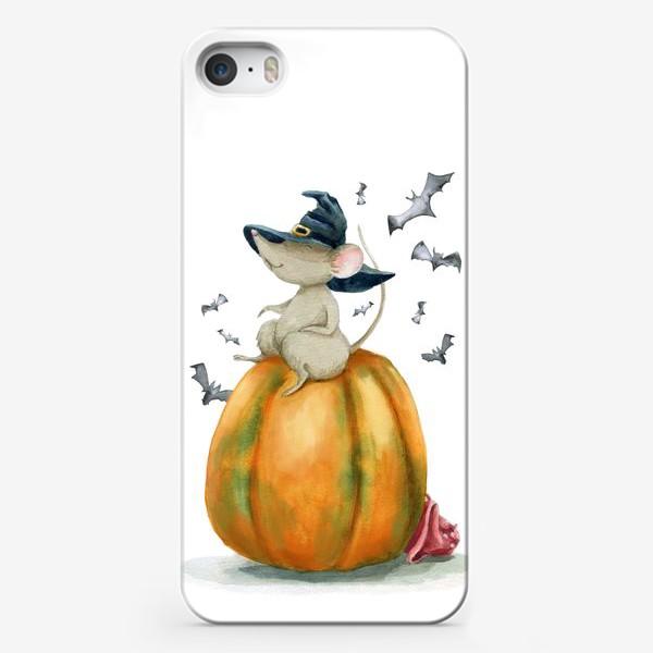 Чехол iPhone «Мышка-ведьмочка на тыкве»