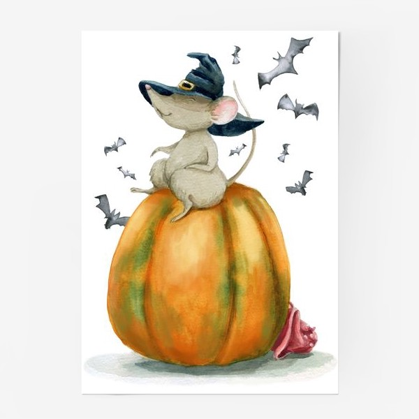Постер «Мышка-ведьмочка на тыкве»