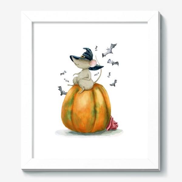 Картина «Мышка-ведьмочка на тыкве»