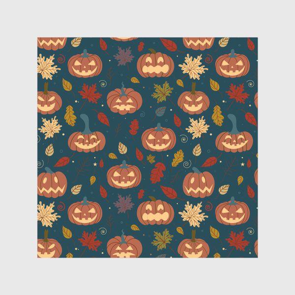 Скатерть «Тыквы и осенние листья на синем фоне Осень. Хэллоуин узор. Тыква-фонарь»