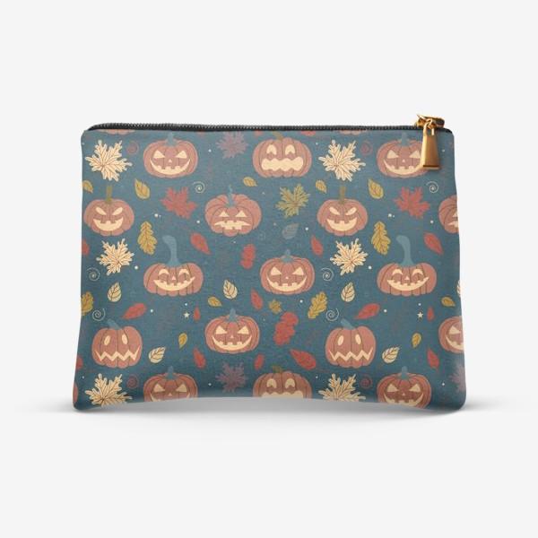 Косметичка «Тыквы и осенние листья на синем фоне Осень. Хэллоуин узор. Тыква-фонарь»