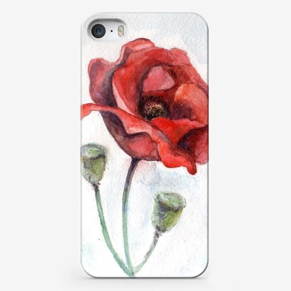 Чехол iPhone «Цветок Мак акварель»
