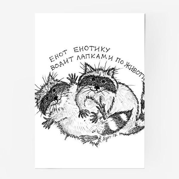 Постер «Енот енотика гладит по животику»
