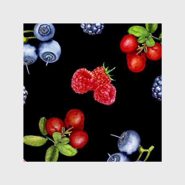 Шторы «Лесные ягоды на черном фоне.»