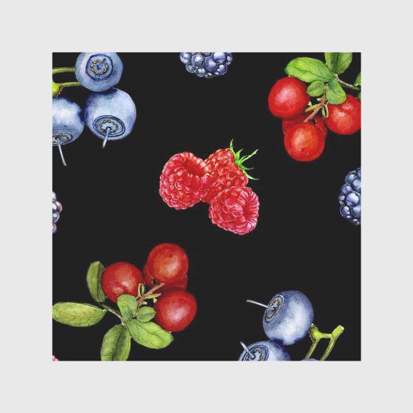 Скатерть «Лесные ягоды на черном фоне.»
