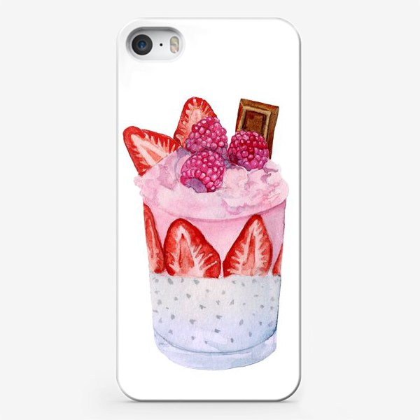 Чехол iPhone «A glass of sweet dessert with berries and chocolate.»