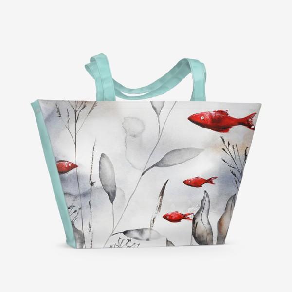 Пляжная сумка «Красные рыбки»