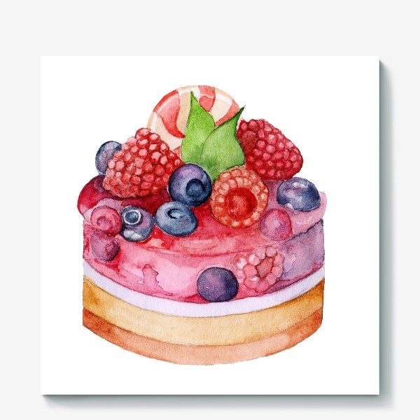 Холст «Sweet dessert, cake with jelly and berries.»