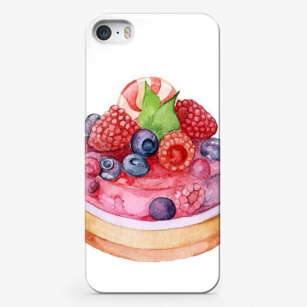Чехол iPhone «Sweet dessert, cake with jelly and berries.»