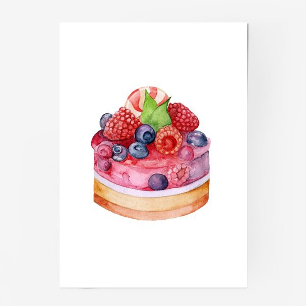 Постер «Sweet dessert, cake with jelly and berries.»
