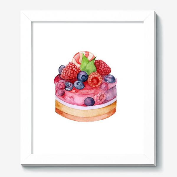 Картина «Sweet dessert, cake with jelly and berries.»