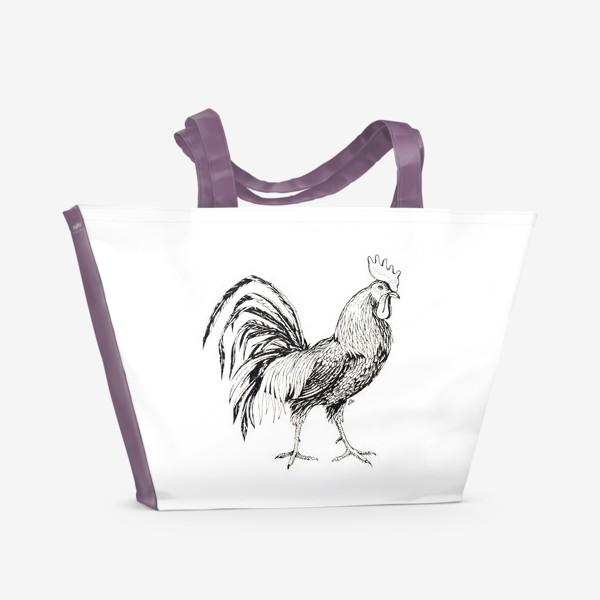 Пляжная сумка «Петушок. Пасторальные мотивы.»