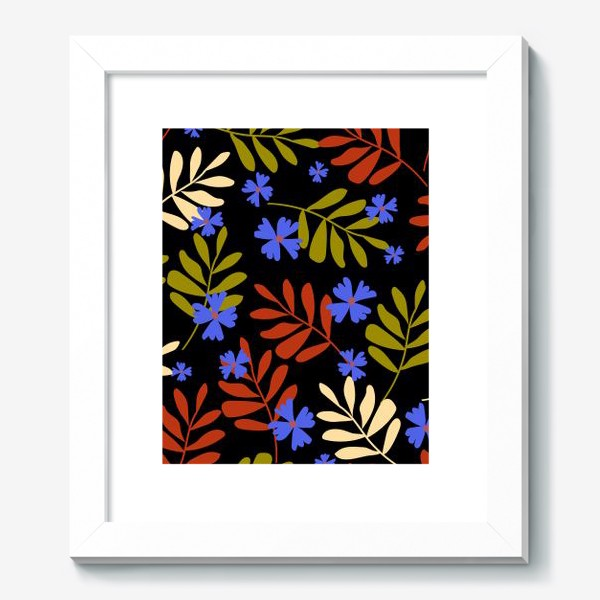 Картина «цветы и веточки на чёрном»