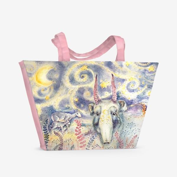 Пляжная сумка «Фантастический сайгак и звездная ночь»