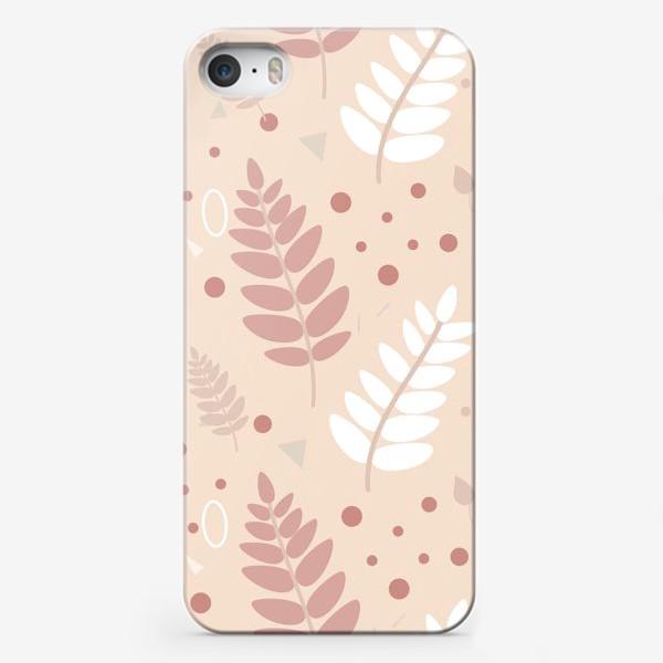 Чехол iPhone «Ботанический узор с листьями на нежном фоне»