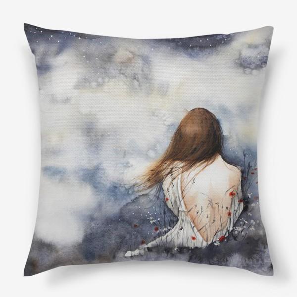 Подушка «Девушка и луна»