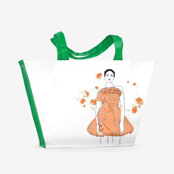 Пляжная сумка «Девушка в оранжевом платье.Белая негритянка»