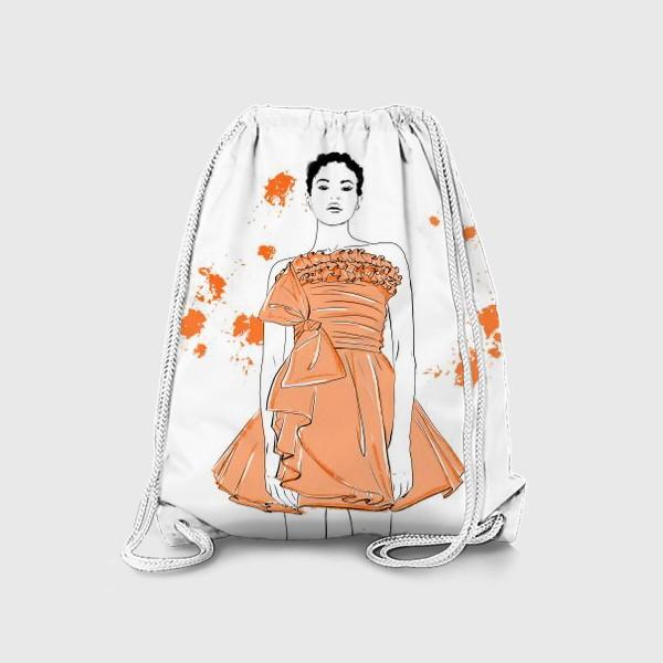 Рюкзак «Девушка в оранжевом платье.Белая негритянка»
