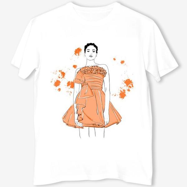 Футболка «Девушка в оранжевом платье.Белая негритянка»