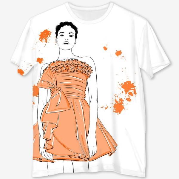 Футболка с полной запечаткой «Девушка в оранжевом платье.Белая негритянка»