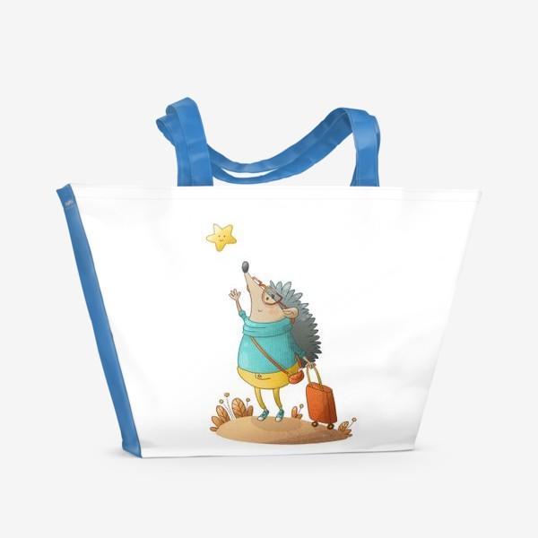 Пляжная сумка «Ежик и звездочка»
