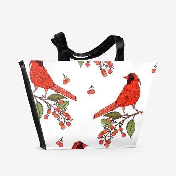Пляжная сумка «красная птица на ветке»