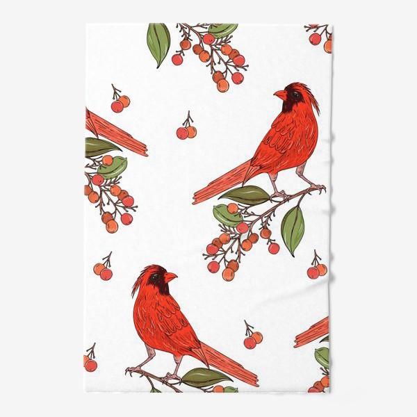 Полотенце «красная птица на ветке»
