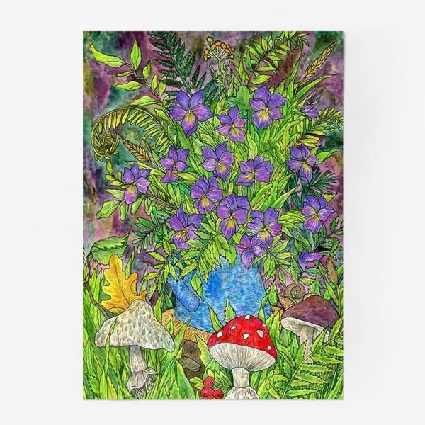 Постер «Лесная сказка фиалки, папоротник и грибы»