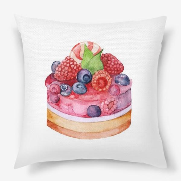 Подушка «Sweet dessert, cake with jelly and berries.»