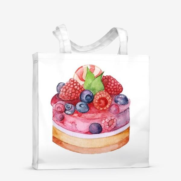 Сумка-шоппер «Sweet dessert, cake with jelly and berries.»