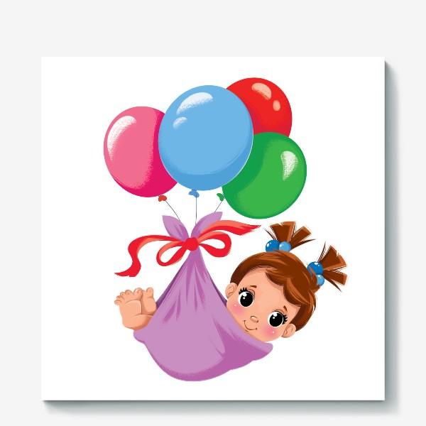 Холст «малышка в шариках»