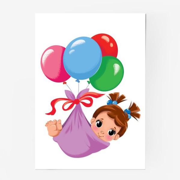 Постер «малышка в шариках»