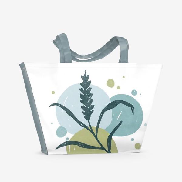 Пляжная сумка «Лаконичная веточка на фоне пастельных кругов 2»